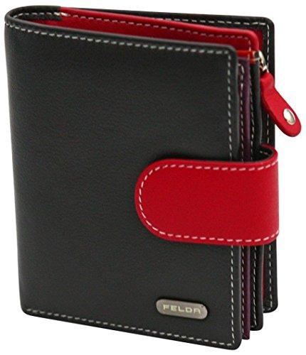 Felda Womens Genuine Soft Leather Clutch Wallet - RFID Protection - Black &...
