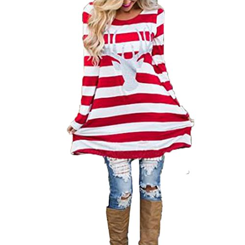 FCYOSO Women Stripe Dress Christmas Elk Casual Dress Red (US,S/Asia,M) (Teen Christmas Dress)
