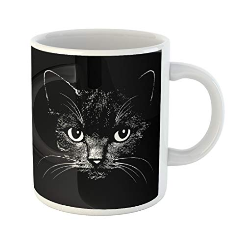 Semtomn Funny Coffee Mug Cat Head Graphic Design Vector Animal Illustration for T-Shirt Sketch 11 Oz Ceramic Coffee Mugs Tea Cup Best Gift Or Souvenir