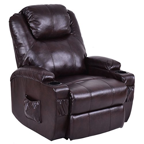 (KCHEX>>>Electric Power Lift Chair Recliner PU Leather Padded Seat w/Remote & Cup HolderThe Unique and Deluxe Design Recliner Sofa Features a Heavy-Duty Steel Mechanism and Thick and Soft Cushions)
