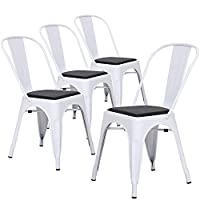 LCH Industrial Metal Dining Chairs, Set of 4 Modern Indoor/Outdoor Stackable Bistro Cafe Chairs with PU Seat, Glossy White