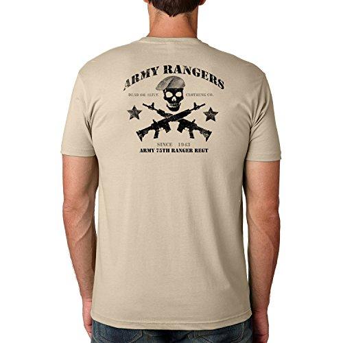 Dead Or Alive Clothing Army 75TH Ranger REGT Cotton Crew Short Sleeve Shirt Medium Cream -