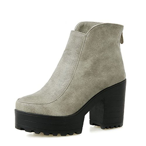 Solid Heels Toe Closed Women's Gray High Soft Boots Zipper Material Round Allhqfashion qgxtfwW7