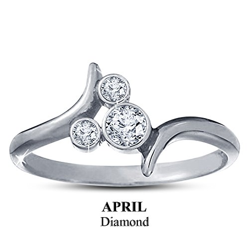 TVS-JEWELS Round Cut Diamond April Birthstone Bypass Mickey Mouse Ring In Genuine 925 sterling Silver (11)