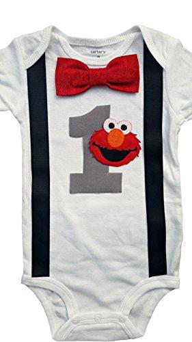 Baby Boys 1st Birthday Outfit - Elmo Bodysuit -