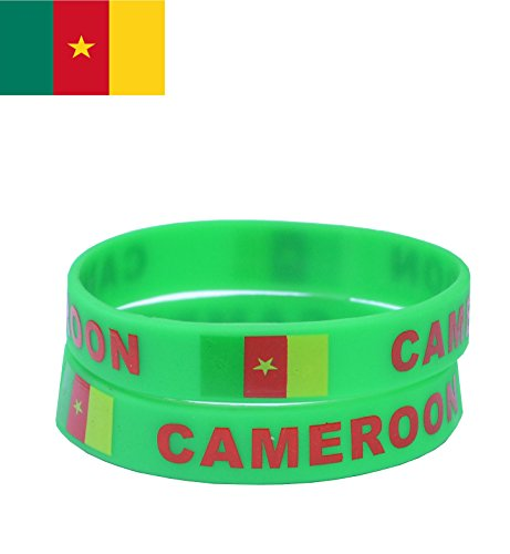 VEWCK Flag Silicone Bracelet Classic Bangle Letter pattern 40 countries 2-Pack (Cameroon-Green)