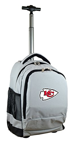 Denco NFL Kansas City Chiefs Expedition Wheeled Backpack, 19-inches, Grey ()