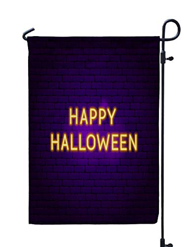 GROOTEY Welcome Outdoor Garden Flag Home Yard Decorative 12X18 Inches Happy Halloween Neon Sign Scary Double Sided Seasonal Garden Flags ()