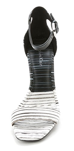 Calvin Klein - Sandalias de vestir para mujer blanco/negro