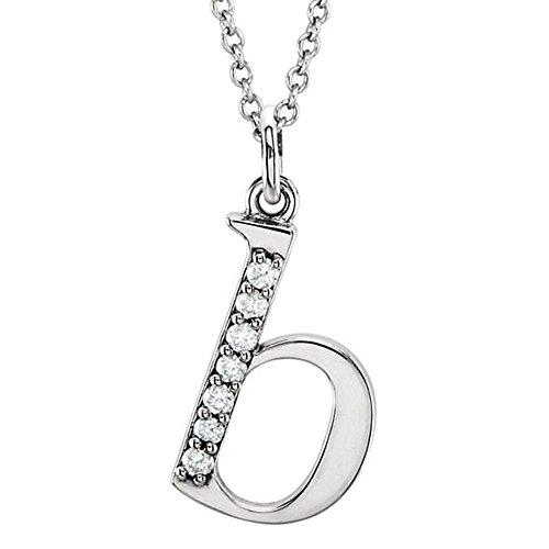 Dazzlingrock Collection 0.05 Carat (ctw) 10K Diamond Lowercase Letter 'b' Initial Pendant, White Gold -