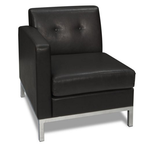Office Star WST51LF-B18 Wall Street Arm Chair LAF in Black Faux Leather (Cheap Online Ottomans)