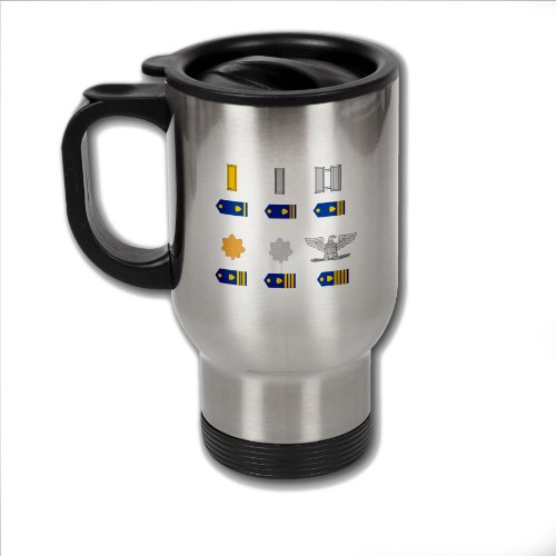 Guard Coast Officer Rank (Stainless Steel Coffee Mug with U.S. Coast Guard officer rank insignia (ensign to captain))