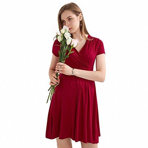 ZH donne incinte vestono l'abito estivo 2018 moda Europa e America hot madre scollo a V a maniche corte Slim confortevole gonna infermieristica post-partum Vino rosso