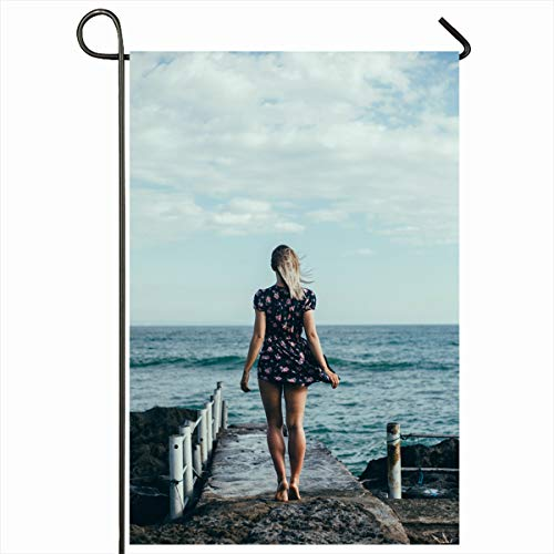 Ahawoso Garden Flag 12x18 Inches Sad Blue Autumn Girl Dress Sunglasses Posing On House Alone Back Beach Boat Brunette Clouds Design Decorative Seasonal Double Sided Home House Outdoor Yard Sign]()