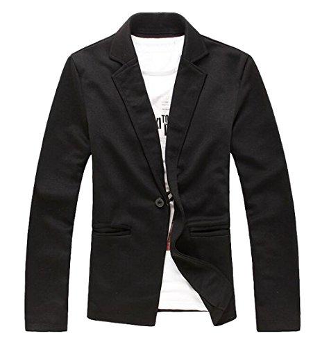 XQS Men's Lightweight Cotton Blend Blazer Suit Knitwear Black L - Blend Suit Coat
