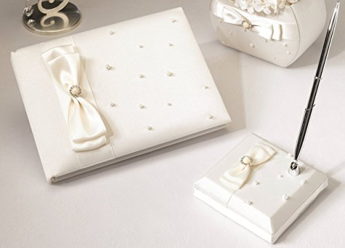 - Lillian Rose Scattered Pearl Guest Book and Pen Set in Ivory
