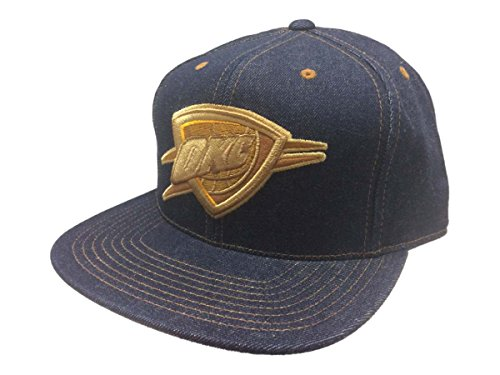 Mitchell & Ness Oklahoma City Thunder Denim Fitted Flat Bill Hat Cap (7 3/8)