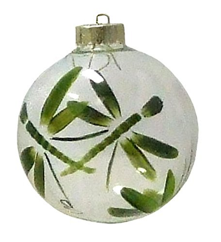(Dragonfly Ornament. Hand Painted on Clear Glass Ball)