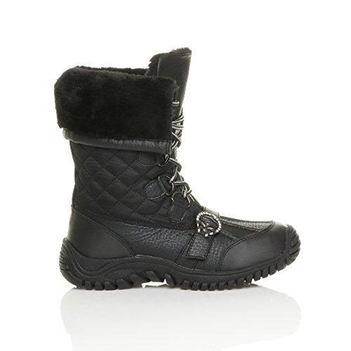 Ajvani - Botas de nieve mujer Negro - Black Quilted