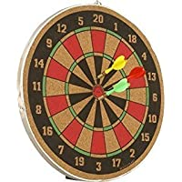 Forever Online Shopping 16-inch Double Sided Wooden Dart Board with 3 Arrows (Multicolour)