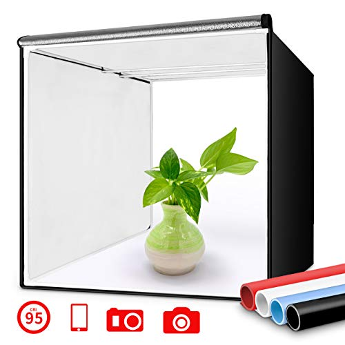 Travor Photo Box 16″/40cm Photo Studio Light Box Portable Photography Shooting Tent with Movable LED Lights, Dimmable Table Top Light Tent with 4 Color Backdrops (White Black Red Blue), CRI95+