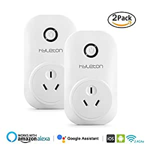Smart Plug, Wi-Fi Wireless Socket Timer Outlet Plug Remote Control the Device from Anywhere and Anytime, Wi-Fi Plug works with Alexa Google Assistant by Voice Control, No Hub Required -HLT AU Plug(2 Pack)