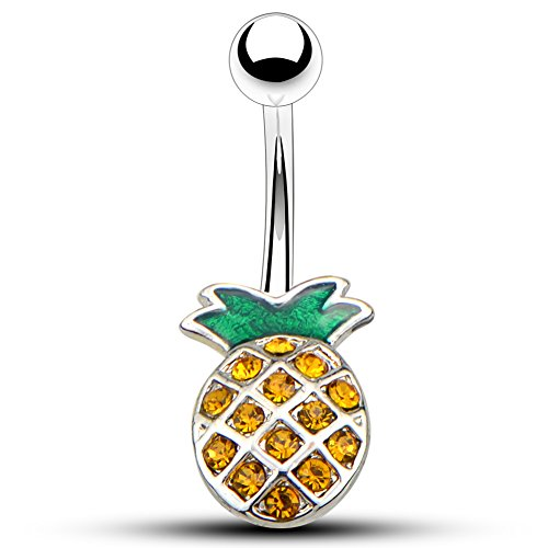 OUFER 14G Surgical Steel Pineapple Navel Rings Belly Button Rings Belly Piercings