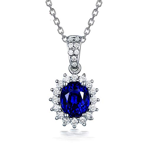 (Adisaer-Women's Necklace 18k White Gold Blue Sapphire 1.28ct Blue Oval)