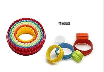 Molde de plástico para galletas, 6 piezas, herramienta de cocina para hornear de plástico, molde para galletas con círculos, molde colorido: Amazon.es: ...
