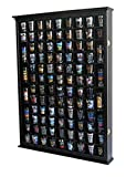 100 Shot Glass Display Case Holder Shadow Box Wall Cabinet, with Acrylic Door (Black Finish)