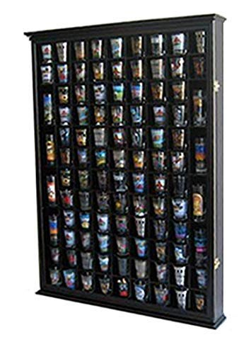 100 Shot Glass Display Case Holder Shadow Box Wall Cabinet, with Acrylic Door (Black Finish) ()