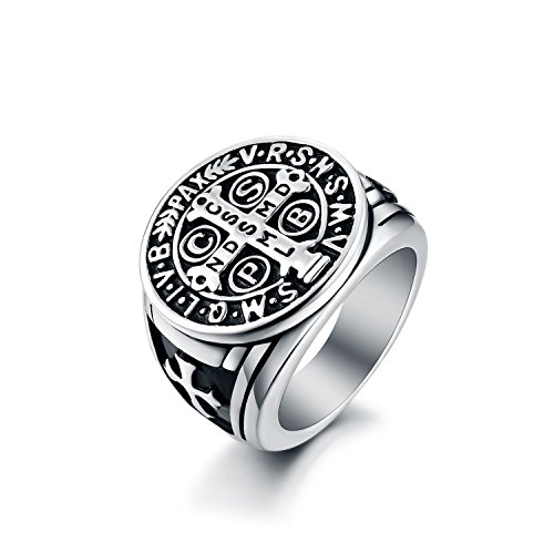 Men's St Benedict Ring Stainless Steel Christian Roman Mens Catholic Saint Benedict Exorcism Rings Gift Cross Demon Protection Ghost Hunter CSPB for Men Boys Dad Boyfriend Vintage Antique Size 7 ()