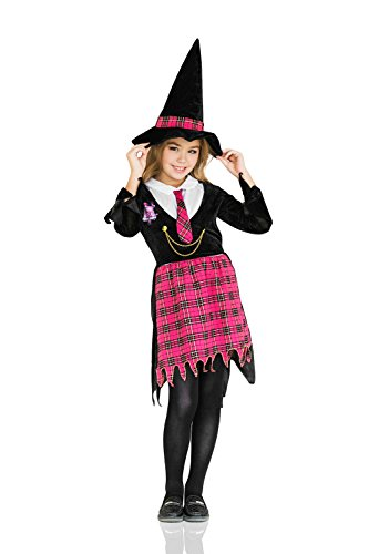 Wendy The Witch Costume (Kids Girls Nerdy Witch Halloween Costume Witchcraft Academy Dress Up & Role Play (8-11 years, black, pink., white))