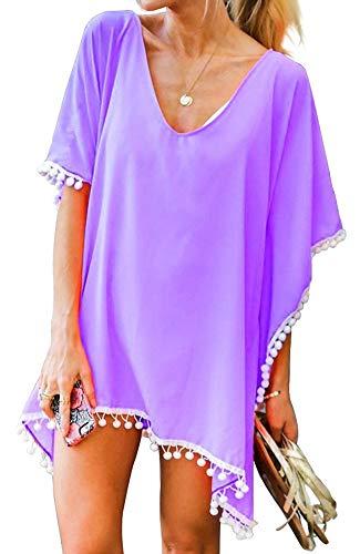 Yincro Women Chiffon Swimsuit Cover up Beach Bikini Stylish Tassel Bathing Suit Cover ups (Size C(Free Size, Fit US 3XL-4XL), Lavender) by Yincro