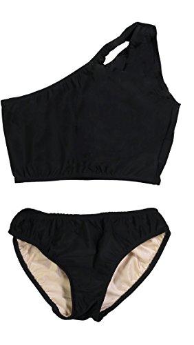 Cheryl Creations Kids Girl's Black Cute & Comfortable Two Piece One Shoulder Bathing Suit Bikini | Swimsuit]()
