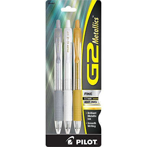 (Pilot G2 Metallics Gel Roller Pens Fine (.7 mm) Point Assorted Color Inks 3-Pack (34402) Silver, White & Gold Inks, Retractable, Refillable & Premium Comfort Grip, Smooth Lines to the End of Page)