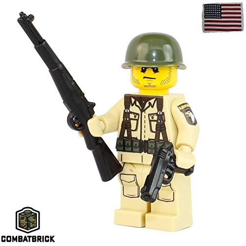 CombatBrick US Army WW2 101st Airborne Paratrooper : WW2 Action Figure and Weapons - Custom Military Brick Builder Minifigure