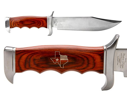 Guard Border Knife (NDZ Performance Elk Ridge Outdoor Hunting Fixed Blade Full Tang Bowie Knife Texas State Border Outline Flag)