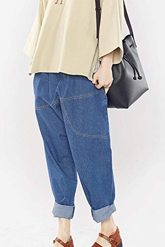 Mujer Cintura Elástica Denim Jeans Casual Otoño Azul Primavera Tamaño Plus Pantalones rrwqZxO7