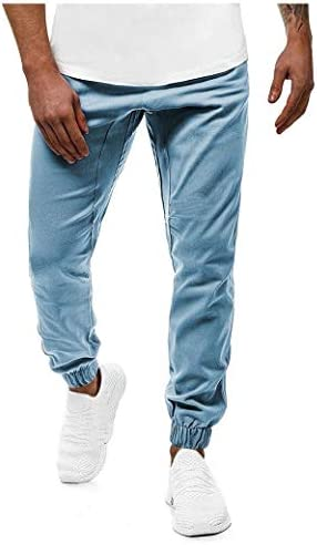 Men's Plus Size Pocketed Solid Colored Trim-Fit Drawstring Running Pants