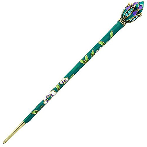 FINGER LOVE Cloisonne Enamel Floral Hair Stick Rhinestones and Tassels (Lotus, Green)