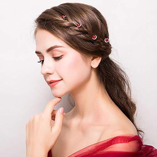 - U Pearl Wave Hair Pins Decorative Bridal Prom Red Rose Rhinestone Jewel Hair Accessories for Women Girls 20pcs (Red)