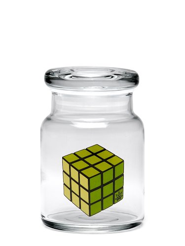 Pop-Top Stash Jar by 420 Science with Rubik's Cube Decal - Assorted Sizes (Small)