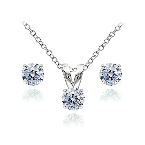 Sterling Silver Solitaire Clear Necklace and Stud Earrings Set created with Swarovski Crystals