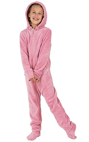 PajamaGram Hoodie-Footie Fleece Zip-Front Onesie Pajamas, Pink, Big Girls' 6 -