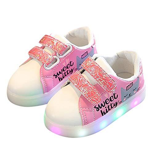 Llevaron Casuales Rosa Kid Zapatos Heart Letter Lindos Girls Ligeros Print Luminosos Los Sport Para Zodof Cat Niños wOa7n5Txx