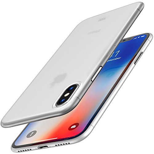 TOZO for iPhone X Case, Ultra Thin Hard Cover [0.35mm] World's Thinnest Protect Bumper Slim Fit Shell for iPhone 10 / X [ Semi-Transparent ] Lightweight [Matte White]