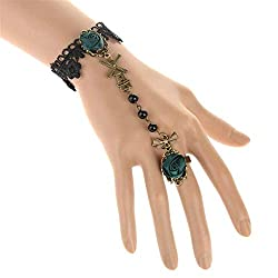 Caiycaiy 2019 New Retro Lady Handmade Jewelry Gothic White Lace Bracelets With Flower Gloves Design Charm Women Par