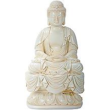 "7.25 Inch Cream Toned Cold Cast Resin ""Buddha"" Statue, Small"
