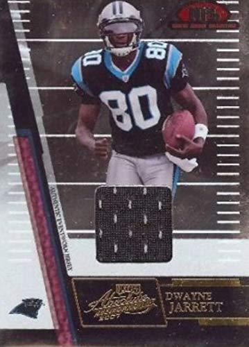 Dwayne Jarrett player worn jersey patch football card (Carolina Panthers) 2007 Donruss Playoff Absolute Rookie -